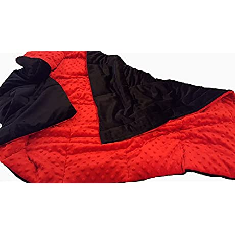 Red Black Luxury Series Weighted Sensory Blanket 20lb 48x70