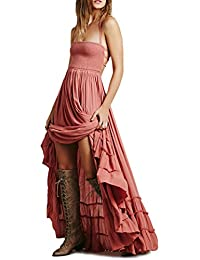 Women Summer Cotton Sexy Blackless Long Dresses