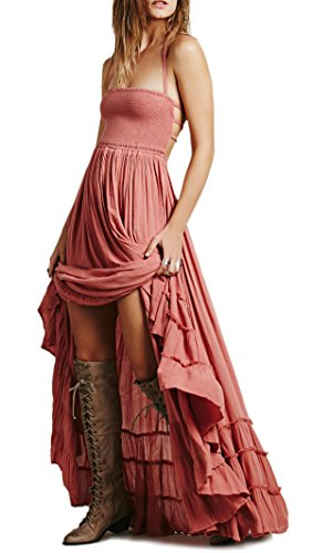 (R.Vivimos Womens Summer Cotton Sexy Blackless Long Dresses Medium Pink)