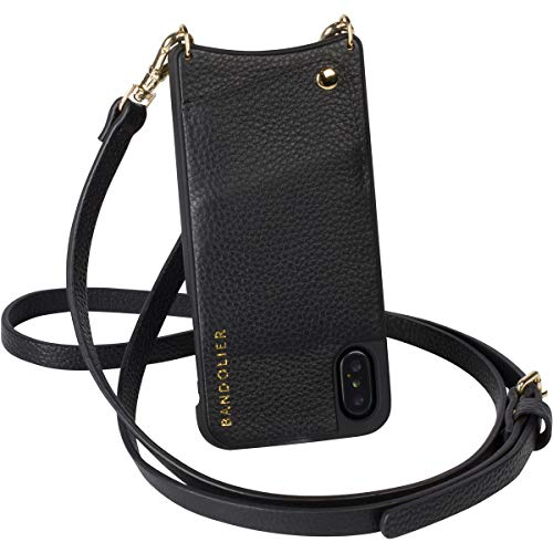 (Bandolier [Emma] Crossbody Phone Case and Wallet - Compatible with iPhone 8 Plus, 7 Plus, 6 Plus, 6s Plus - Black Pebble Leather with Gold Detail)