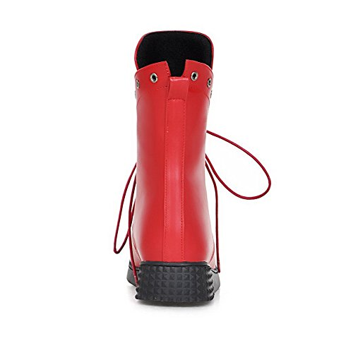 AllhqFashion Mujeres Caña Baja Sólido Cordones Puntera Redonda Mini Tacón Botas Rojo