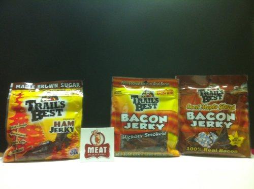 MEAT-MANIAC-Exotic-Jerky-Sampler-Gift-Pack-with-Sticker-Trails-Best-Hickory-Bacon-Jerky-275oz-Trails-Best-Maple-Bacon-Jerky-25oz-Trails-Best-Maple-Brown-Sugar-Ham-Jerky-3oz