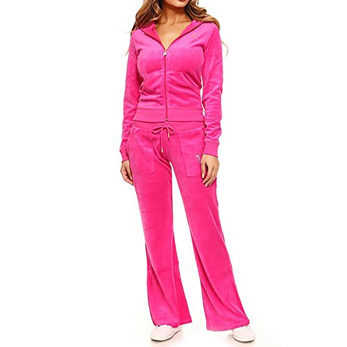 t Pink Velour Active Hooded Sweatshirt and Pants Set With Rhinestones X-Large ()