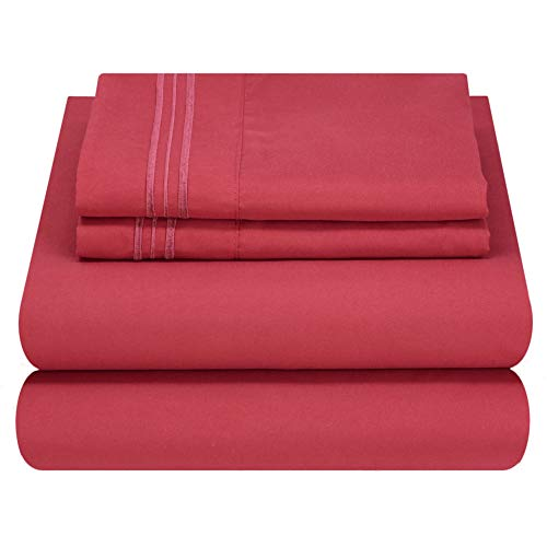 Mezzati Luxury Bed Sheets Set - Sale - Best, Softest, Coziest Sheets Ever! 1800 Prestige Collection Brushed Microfiber Bedding (Burgundy, Queen)