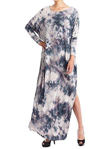 JayJay Women Casual Loose Fit Long Sleeve Split Tie Dye Long Maxi Dress with Pocket,Blue,XL by JayJay Company
