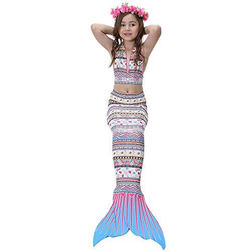 MOXO nuevas niñas de verano sirena cola traje de baño de mar Maid bikini conjunto traje 3 piezas H