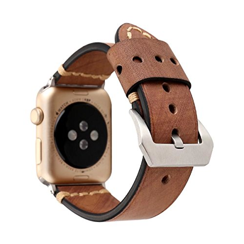 Apple Wrap (TCSHOW For Apple Watch Band 38mm,38mm Handmade Vintage Calf Genuine Leather Strap Wrist Band with Secure Metal Clasp Buckle for Apple Watch Series 3 Series 2 and Series 1 (Retro D))