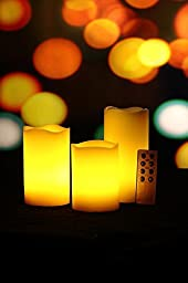 BONISON Set of 3 Real Wax Melt Edge LED Candle Set (Amber with Remote Control)