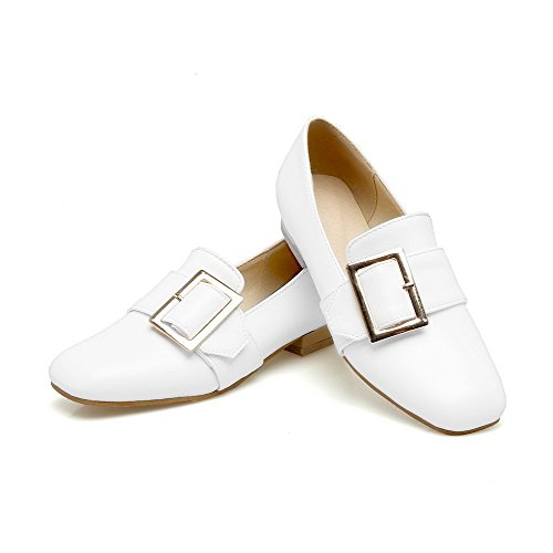 Basso Donna VogueZone009 Tacco Flats Tirare Punta Quedrata Ballet Luccichio Puro Bianco q0naTqwx