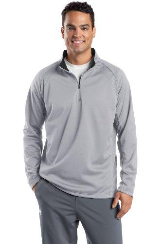 Sport-Tek Men's Sport Wick 1/4 Zip Fleece Pullover L Silver/Black