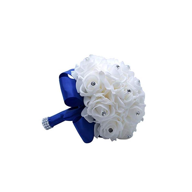 silk flower arrangements mojun wedding bouquets crystal pe roses bridal bridesmaid wedding hand holding bouquet artificial fake flowers toss bouquet, sapphire