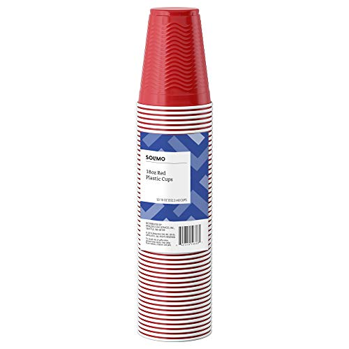 Amazon Brand - Solimo 18oz Disposable Plastic Party Cups, 50 Count, Red