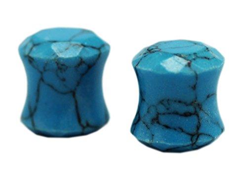 Blue Turquoise Double Flared Ear Plug (8 mm, 0 Gauge) - 2 Piece (Turquoise Flared Plugs)
