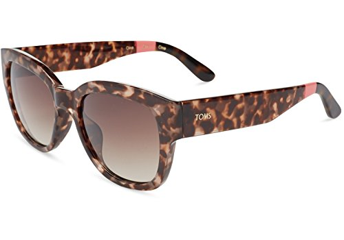 TOMS 10007246 Unisex Audrina Rose Tortoise Frame Brown Lenses Gradient Sunglasses