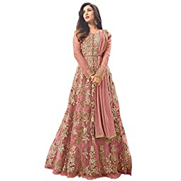 HomeDeal Women's Net Anarkali Semi-Stitched Gown (1145-all1, Gajri, Free Size)