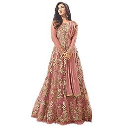 HomeDeal Women's Net Anarkali Semi-Stitched Gown (1145-all1, Gajri, Free Size)