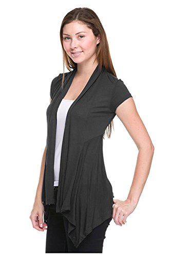 G2 Chic Women's Solid Ruched Short Sleeve Open Cardigan(TOP-CGN,DGYA2-S)