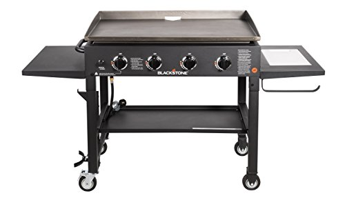 Blackstone 36 inch Outdoor Flat Top Gas Grill Griddle Station - 4-burner - Propane Fueled - Restaurant Grade - Professional Quality - With NEW Accessory Side Shelf and Rear Grease Management System ()