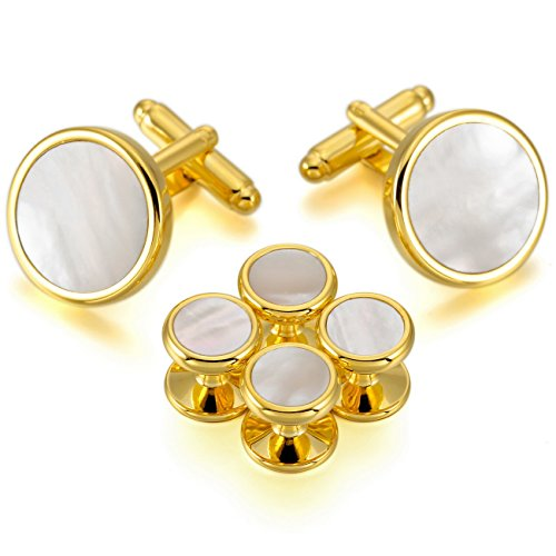 MOWOM Gold Tone White Rhodium Plated Mother of Pearl Abalone Shell Cufflinks Round Stud Set ()