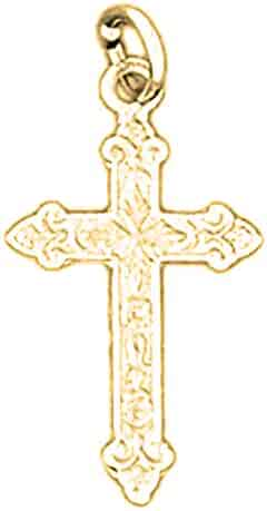 Jewels Obsession Budded Cross Charm Pendant 19 mm 14K White Gold Budded Cross Pendant