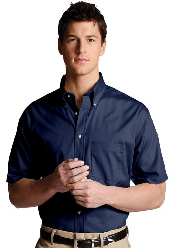 Edwards Men's Easy Care Short Sleeve Poplin Shirt, NAVY, - Wrinkle Poplin Resist Shirt