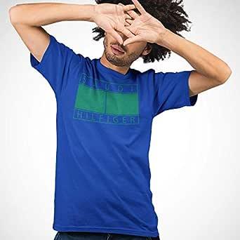 عتيق تيشيرت قطني بتصميم سعودي هيلفيغر للرجال، مقاس M، ازرق