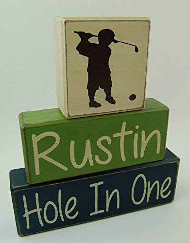 (Golf-Hole In One-Personalized Name Boys Sports Room Decor Nursery Room-Birthday-Baby Shower Primitive Country Wood Stacking Sign Blocks Home Decor)