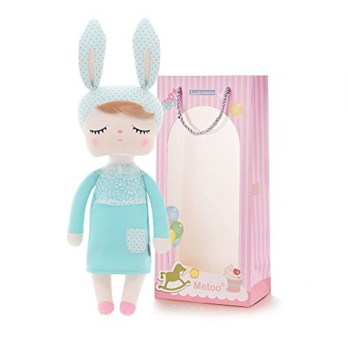 "Me Too Gifts Baby Doll Girl Gifts Stuffed Bunny Super Soft Plush Rabbit Toys 12"" Gift Bag (Mint Green)"