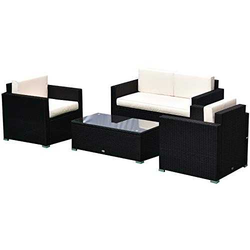 Outsunny 4 Pieces Outdoor Wicker Patio Sofa Set, Rattan Conversation Furniture Set with Chushions and Coffee Table, Whilte