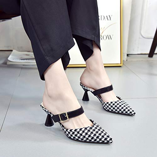 And Rough Thirty KPHY Comfortable Heel High Head Eight Shoes Shallow Sharp Buckle Single Shoes Women'S Wild Houndstooth 4qwYUB