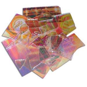 Dicroic Glass (1/2 Lb Dichromagic Tie Dye Pattern Scrap On Clear - 96 Coe)