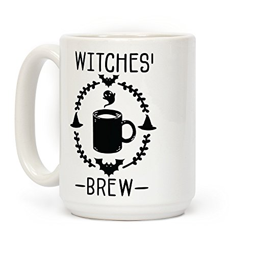LookHUMAN Witches' Brew Coffee White 15 Ounce Ceramic