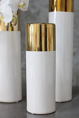 Richland White & Gold 12″ Klein Vase
