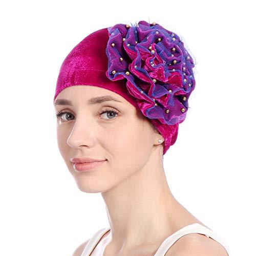 (Beautyfine Women Muslim Scarf Turban Wrap,Beading India Hat Ruffle Cancer Chemo Beanie Cap)
