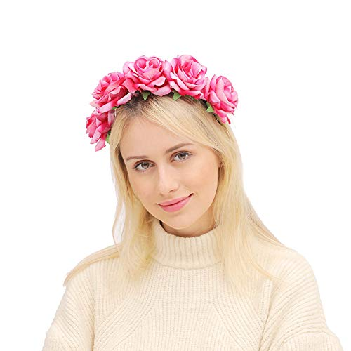 June Bloomy Rose Floral Crown Garland Flower Headband Headpiece for Wedding Festival (Velvet Pink)]()