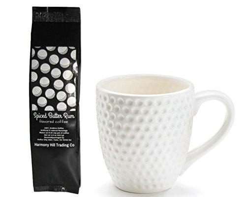 Golfers Gift Set - Golf Ball Coffee Mug Cup with Spiced Butter Rum Golf Ball Label Coffee Gift Set 2 Item Bundle