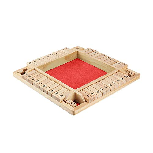 MANDIY Shut The Box Dice Game Wooden for Kids & Adults, Mathematic Traditional Pub Board Dice Game, Four Sided 4 Players Wooden 10 Number Amusing Game for Learning Addition Red-02