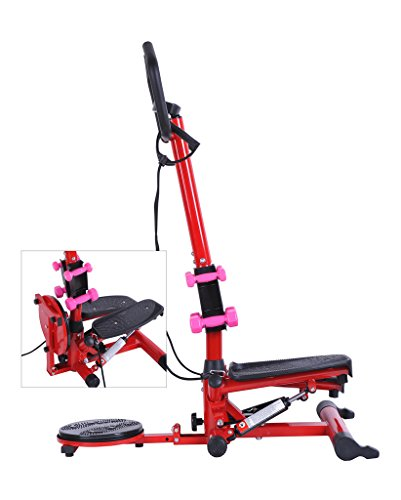 Tenive Multi-functional Aerobic 3 in 1 Home Fitness Gym Machine -- Twisting Waist Balance Rotating Board - Twister Stepper Exercise Machine- Dumbbells Workout Machine