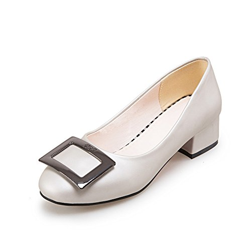 JIEEME Ladies Sweet Block Heels Causal Women Pumps Black White Low Heels Women Court Shoes Gray LxyLzxR