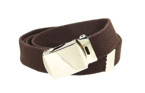 Brown Web Belt with Buckle Military - Belts Accessories Web Clothing