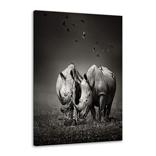 Urttiiyy Rhinoceros Wall Art of Animal Prints on Canvas Black and White Pictures for Living Room Decor Wall Artwork HD Prints for Home with Framed Stretched Ready to Hang (16''Wx24''H, Artwork-20) ()