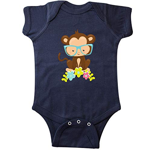 inktastic - Cute Monkey with Eyeglasses, Infant Creeper 6 Months Navy Blue 35a72