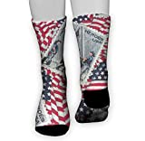 Men&Women Vintage Retro Stamp American Flag USA Patriotic Crew Socks Warm Over Boots