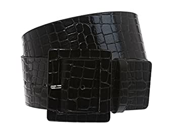"2 1/4"" Wide Ladies High Waist Croco Print Patent Leather Fashion Belt Size: S/M - 32 Color: Black"