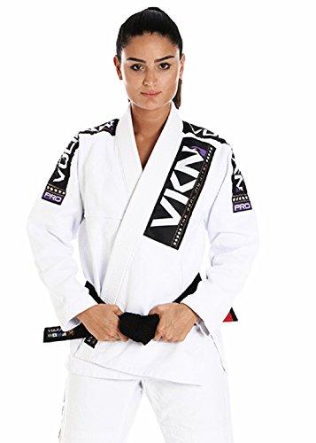 Women's Pro Light Jiu Jitsu Gi + Free Submission and Position Videos + 30 Day Comfort Guarantee + IBJJF Approved (White/Purple, A0)