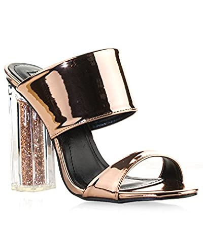 ROF Women's Double Band Slide Slip On Lucite Clear Glitter Mule Heeled Sandals ROSE GOLD (7.5)