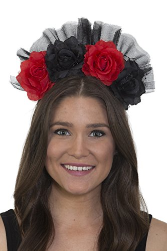 Jacobson Hat Company Day Of The Dead Headband Floral Red Black Flowers Gothic Bride Accessory Costume ()