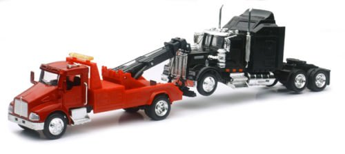 New Ray New 1:43 NEWRAY Truck & Trailer Collection - Kenworth T300 Tow Truck & W900 CAB Diecast Model Toys (Tow Truck Diecast)