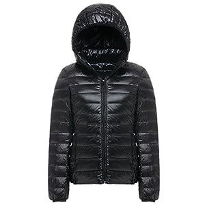 Cheerun Women's Hooded Packable Down Coat Ultra Light Weight Short Down Jacket Women Black US XS/Tag L