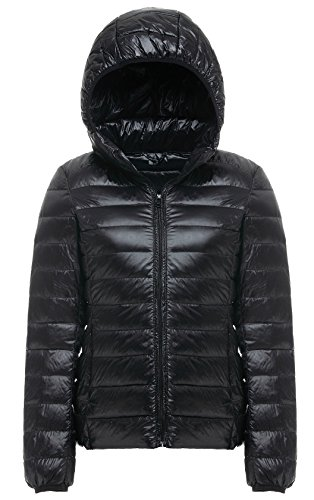 Cheerun Women's Hooded Packable Down Coat Ultra Light Weight Short Down Jacket Women Black US M/Tag (Goose Down Winter Coat)